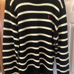 Polo Ralph Lauren Large Black and Cream Sweater